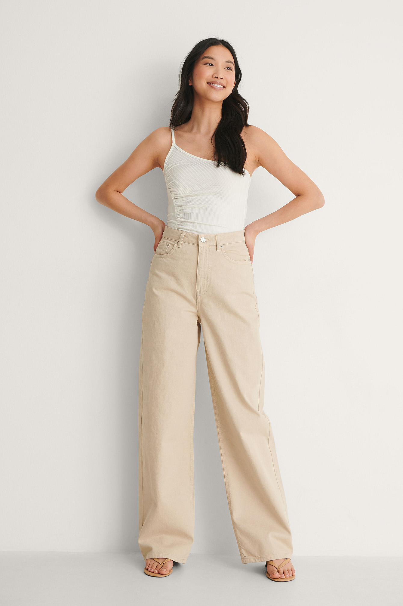 Offwhite One Shoulder Ruched Top