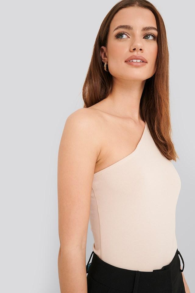 One Shoulder Singlet Body Dusty Light Beige