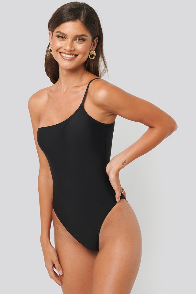 One Shoulder Strap Swimsuiit Black