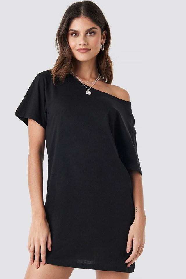 One Shoulder T-shirt Dress Black