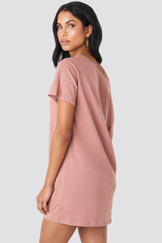 One Shoulder T-shirt Dress Dusty Dark Pink
