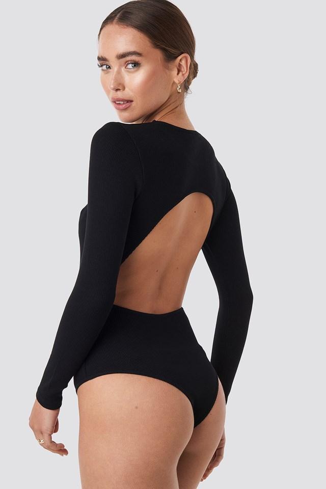 Open Back Bodysuit Deep Black