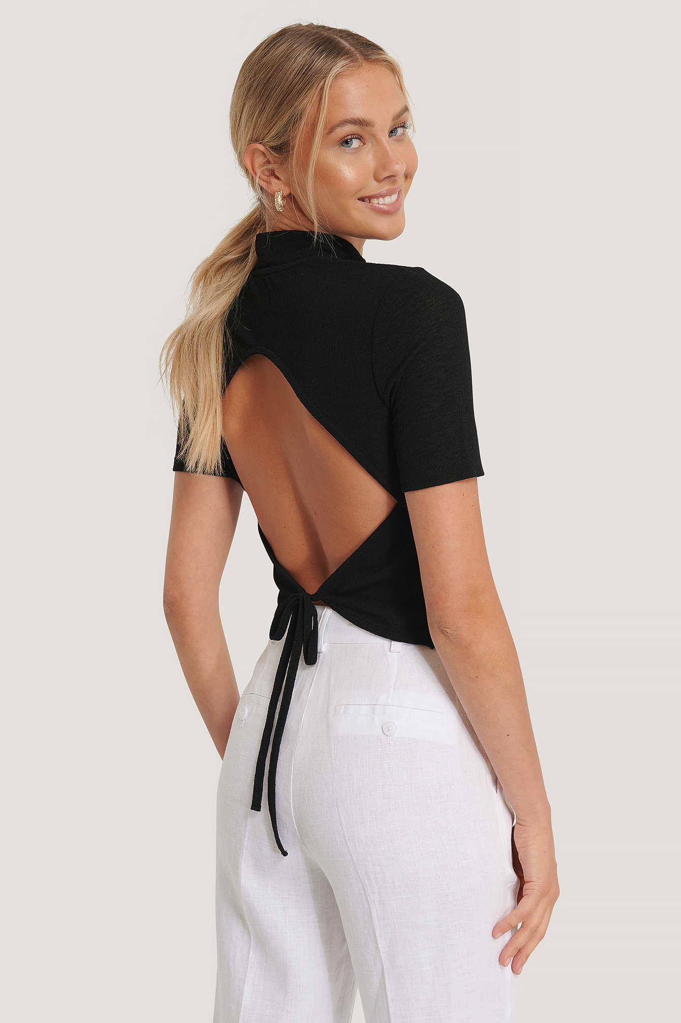 Black Open Back Crepe Top