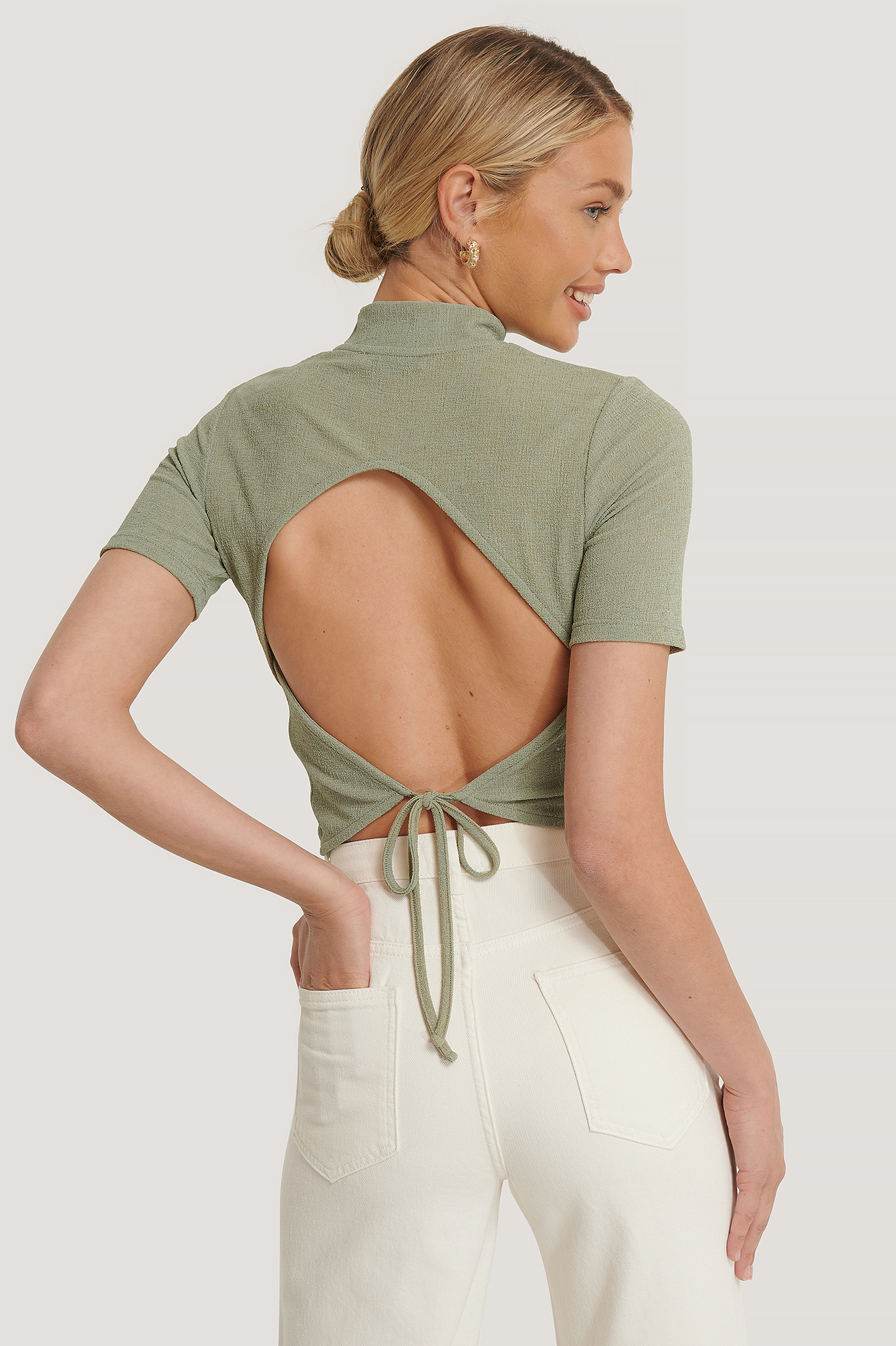 Khaki Open Back Crepe Top