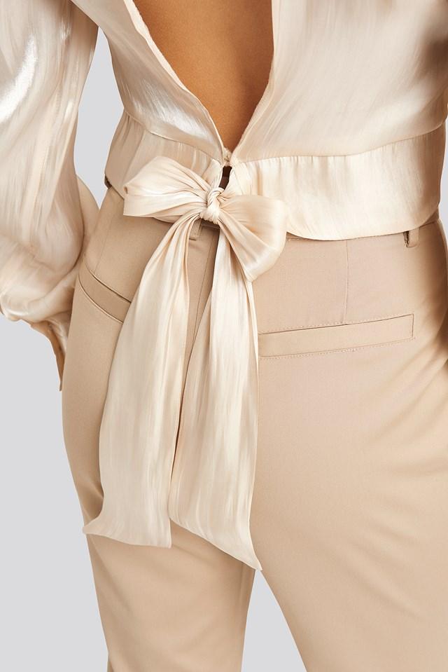 Open Back Tie Detail Blouse Dusty Light Beige