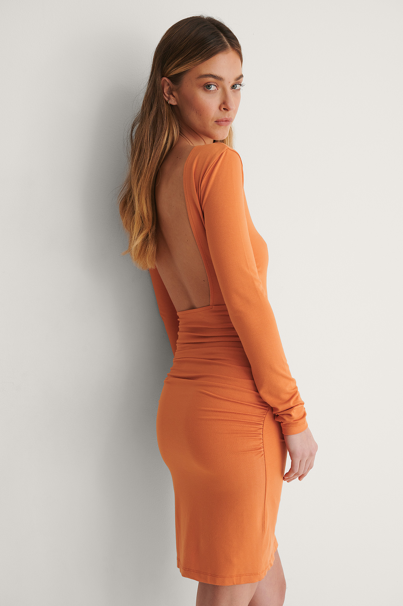Burnt Orange Open Back Draped Dress
