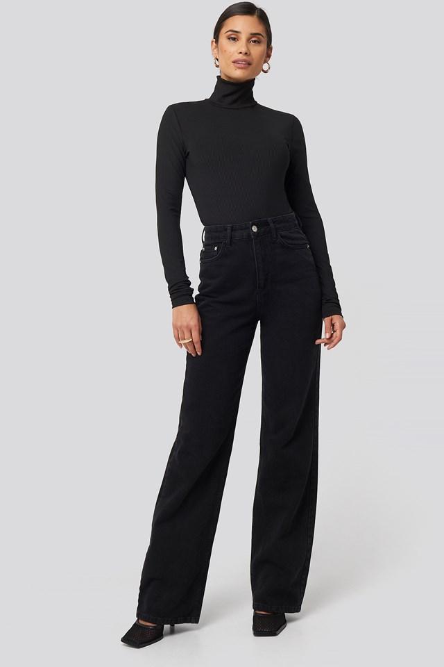 Open Back Highneck Bodysuit Black