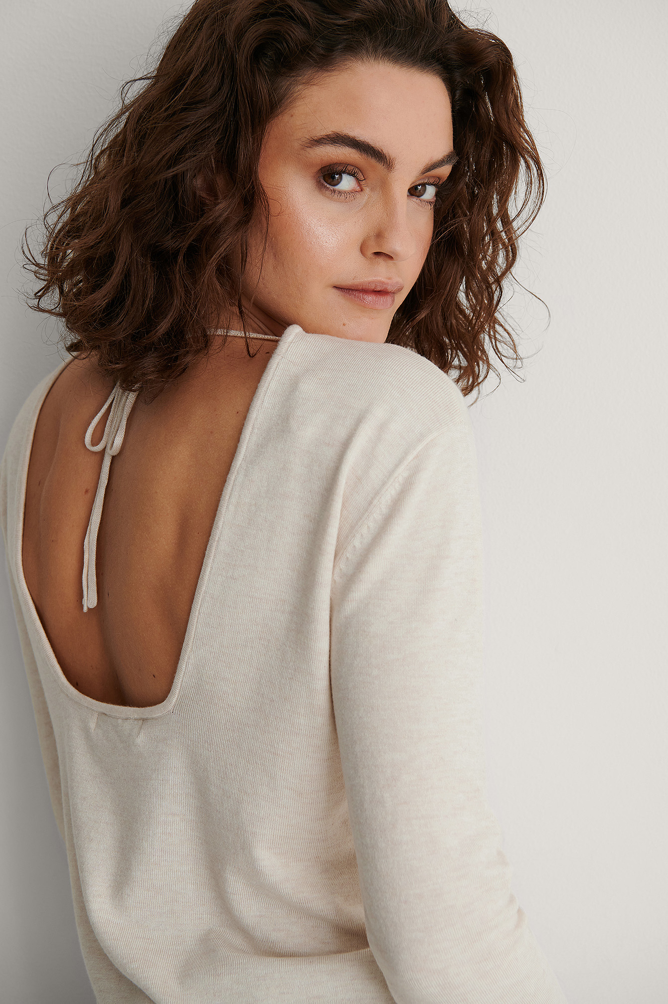 Beige Open Back Long Sleeve Knitted Sweater