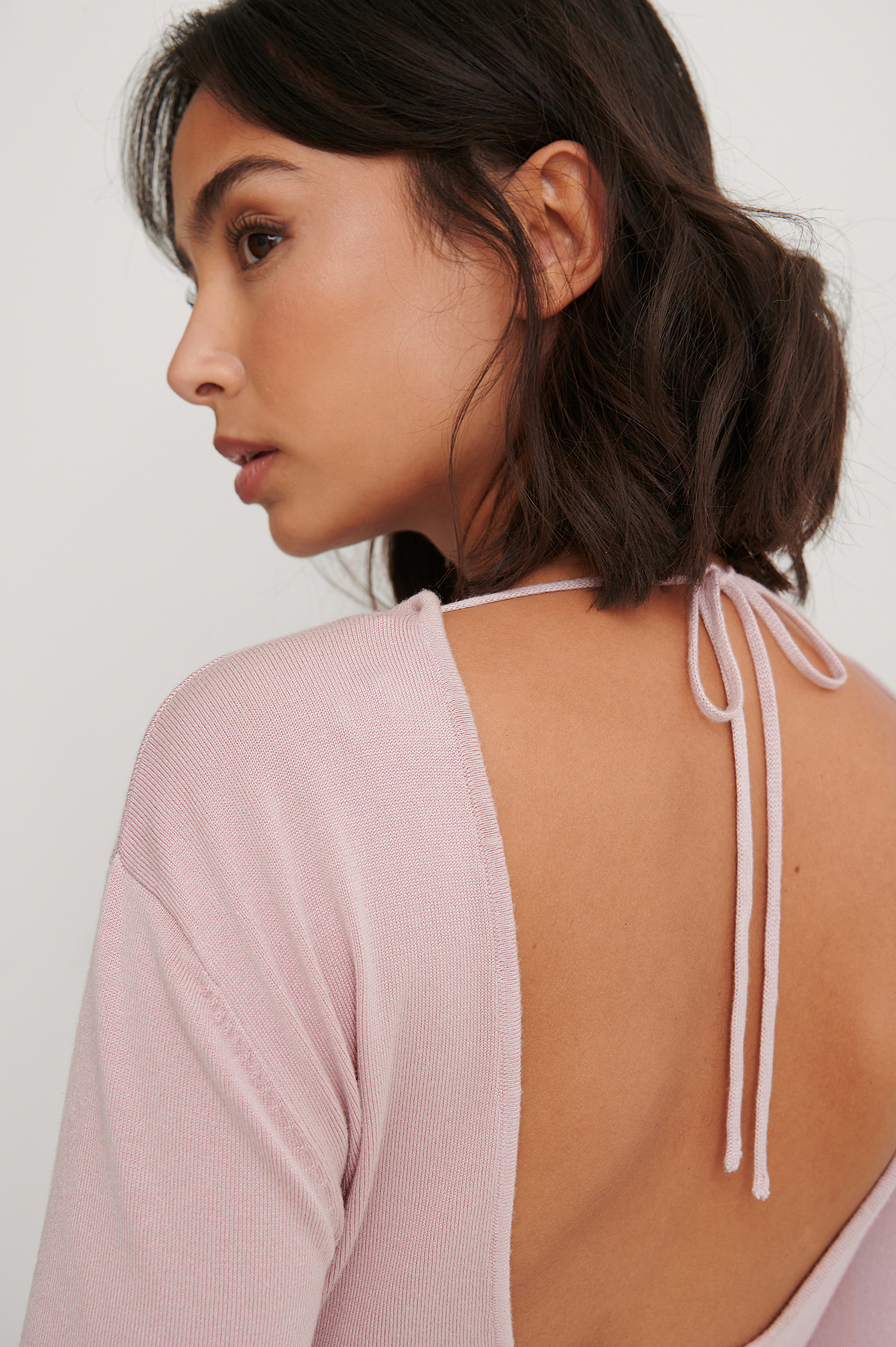 Dusty Pink Open Back Long Sleeve Knitted Sweater