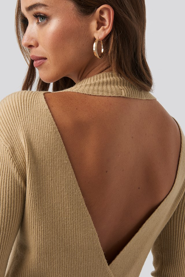 Open Back Overlap Knitted Sweater NA-KD