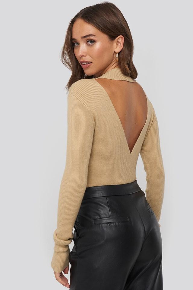 Open Back Overlap Knitted Sweater Light Beige