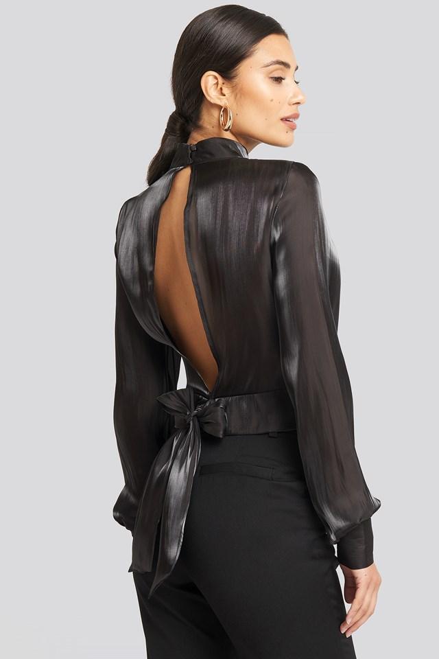 Open Back Tie Detail Blouse Black