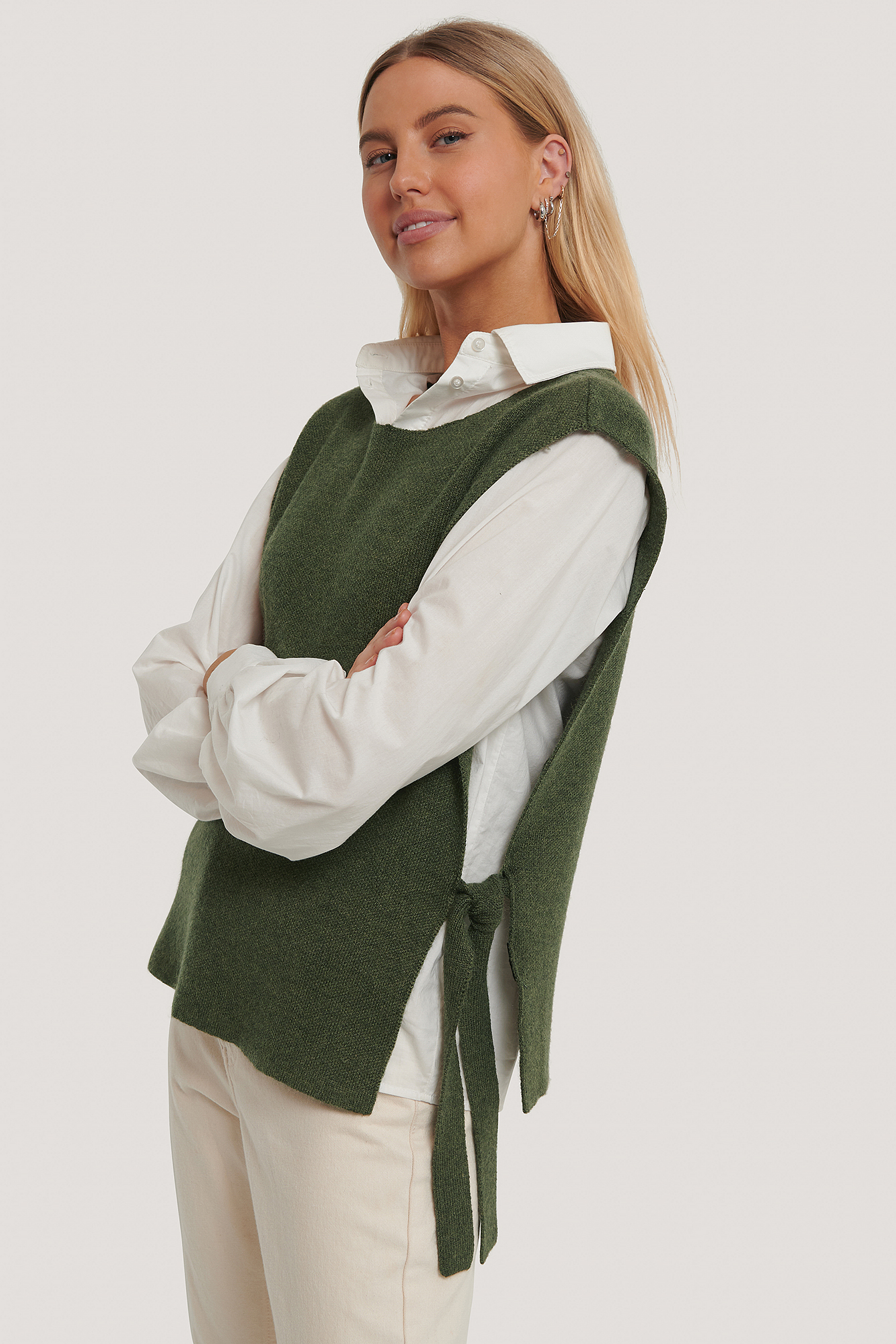 Green Open Side Knitted Vest