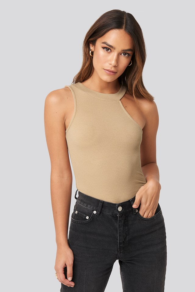Open Strap One Shoulder Sleeveless Top NA-KD Trend
