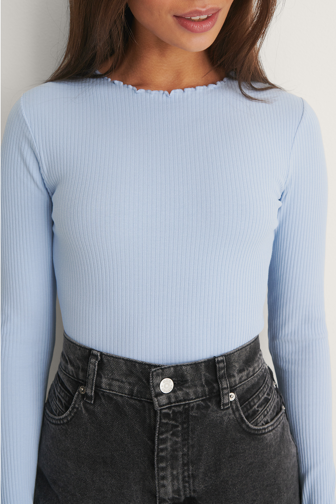 Dusty Blue Organic Babylock Ribbed Long Sleeve Top