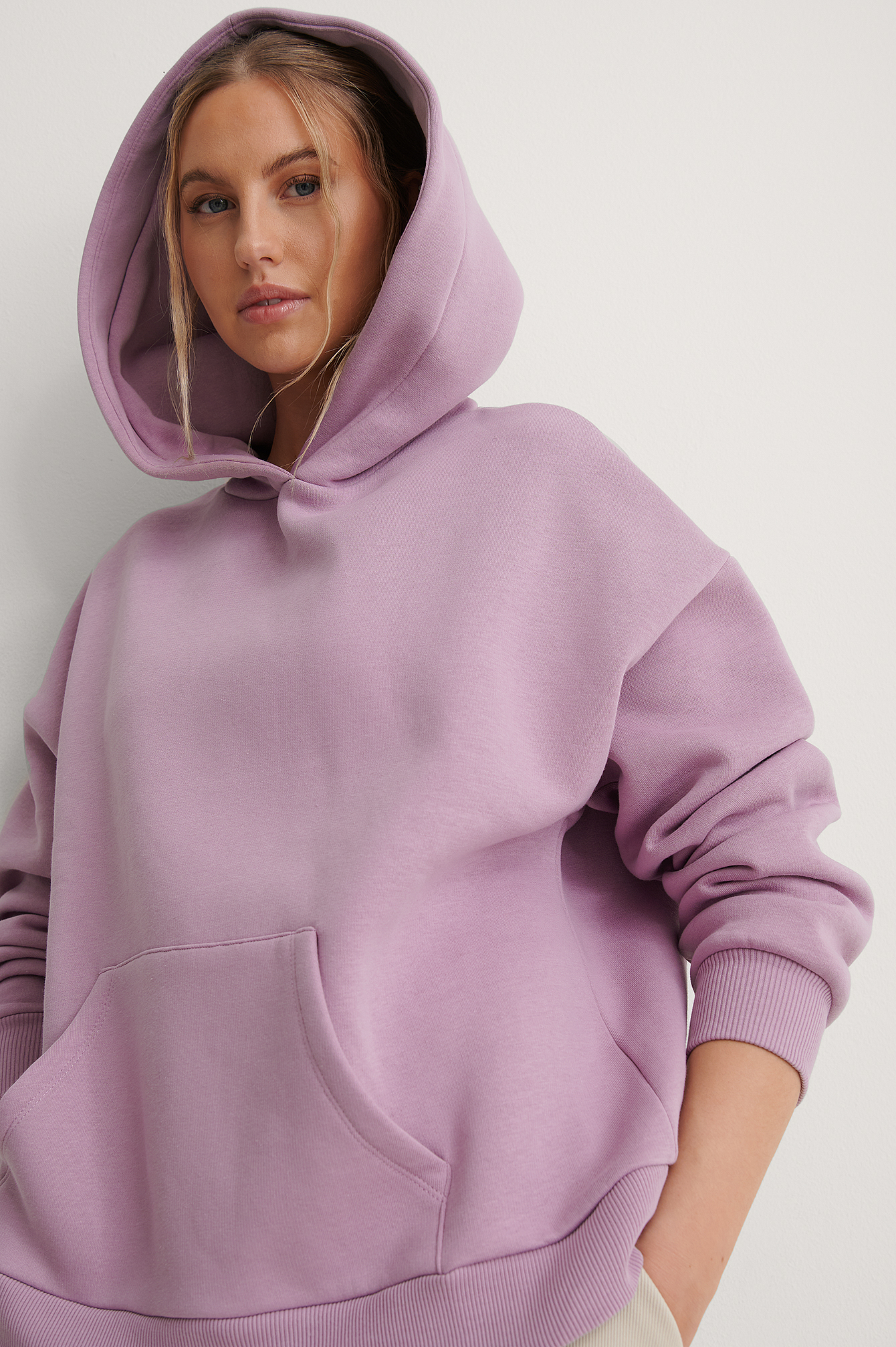 Dusty Lilac Organic Brushed Pocket Detail Hoodie