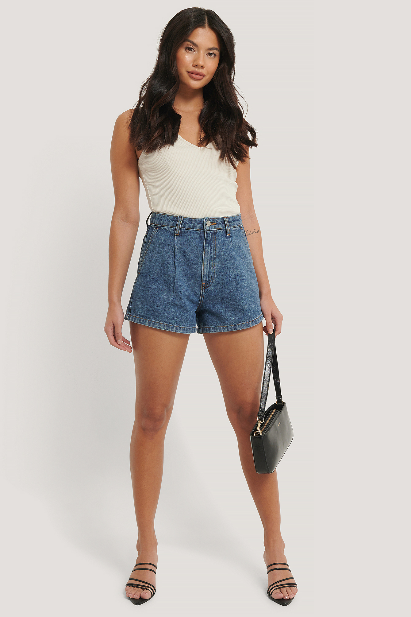 Mid Blue Organic Cotton Pleat Detail Shorts