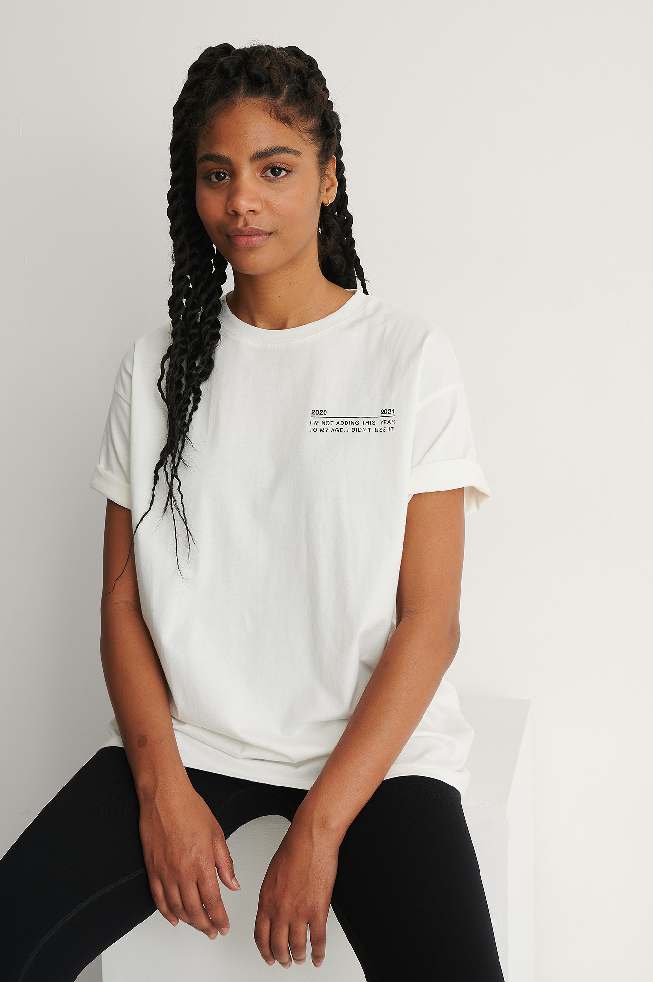 White Organic Round Neck Oversized Printed Tee