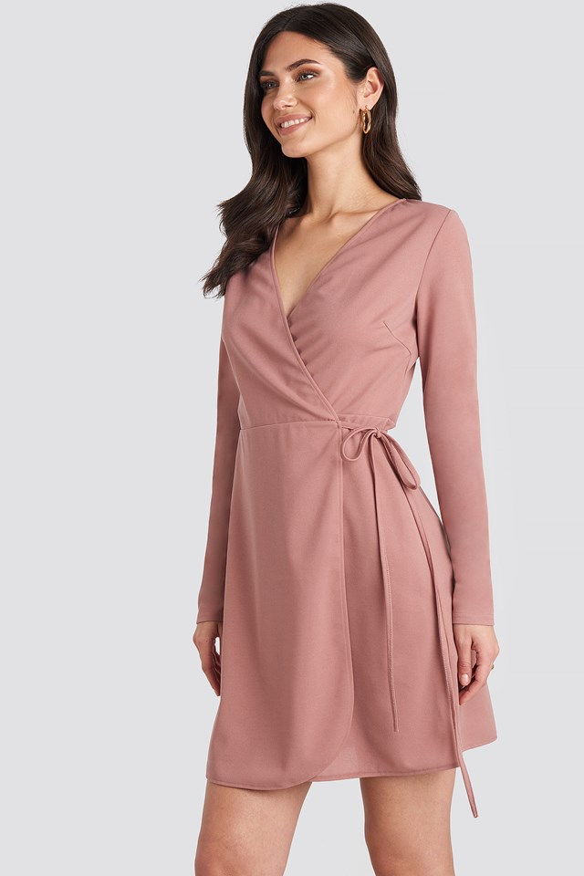 Overlap Dress Dusty Pink