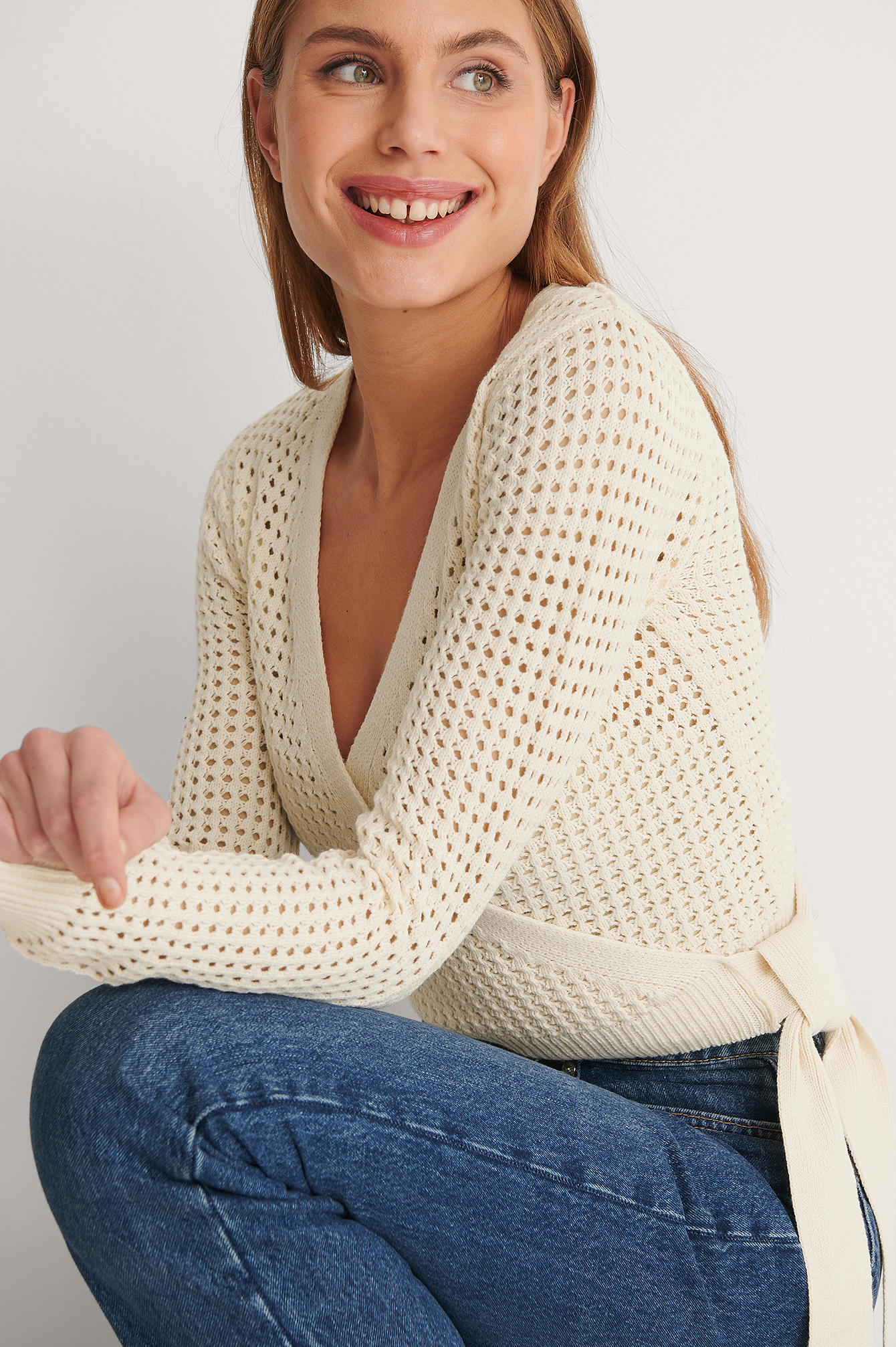 Light Beige Overlap Hole Knitted Sweater