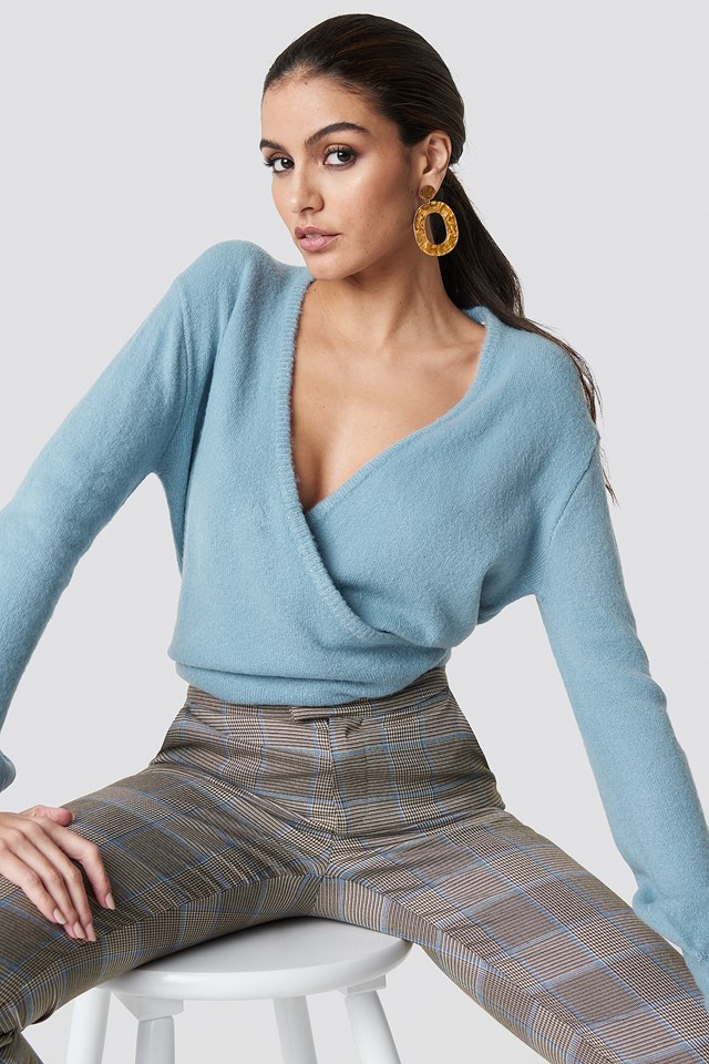 Overlap Knitted Sweater Dusty Blue