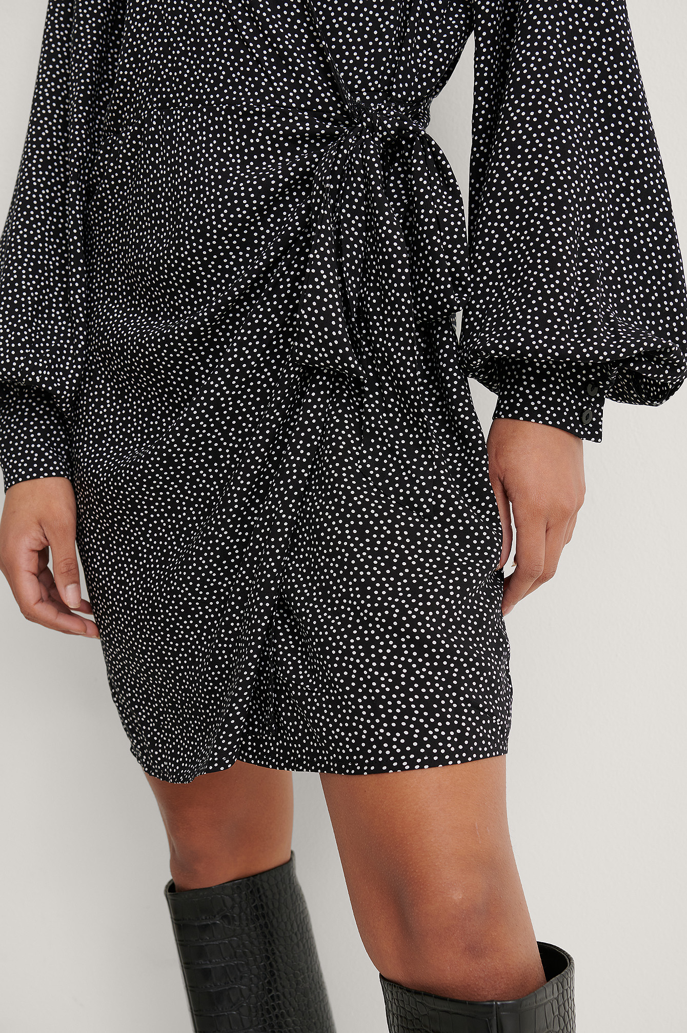 Polkadot Black/White Overlap LS V-Neck Dress