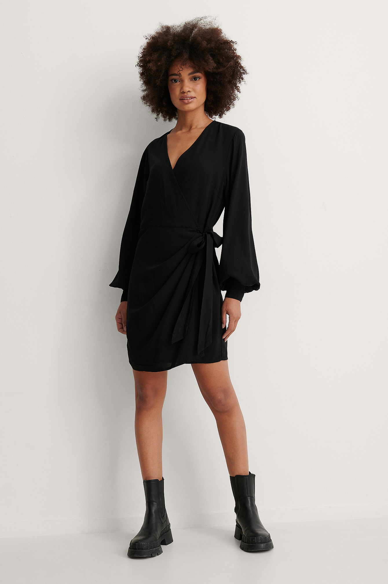 Black Overlap LS V-Neck Dress