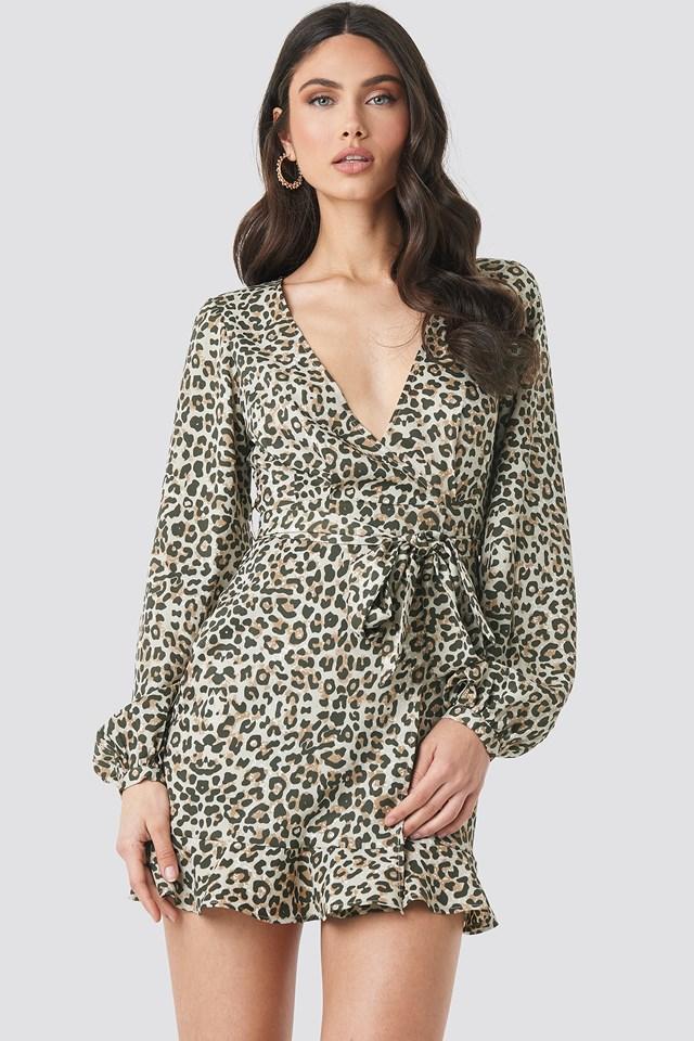 Overlap Mini Dress Leopard