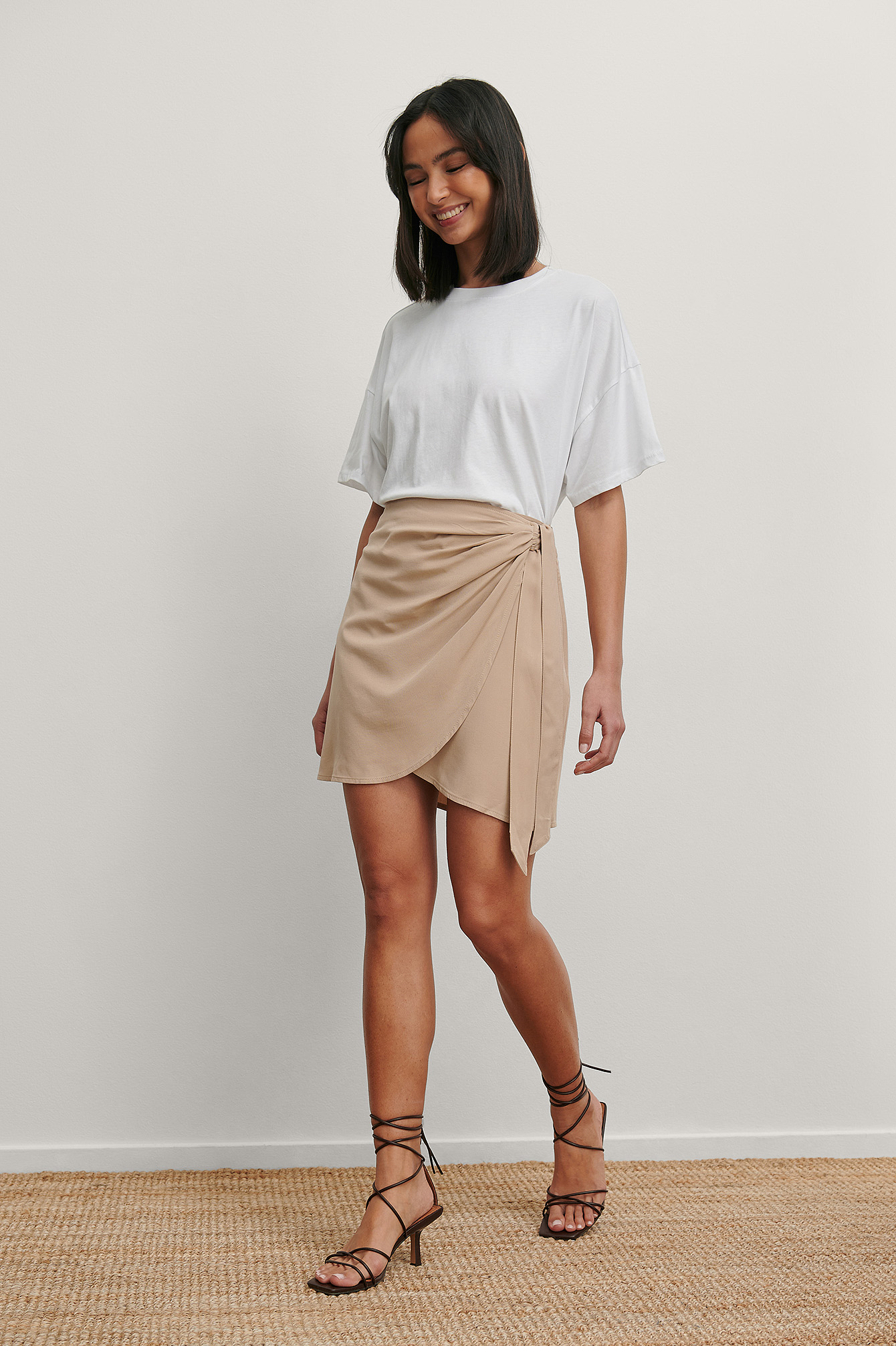 Beige Overlap Side Knot Mini Skirt