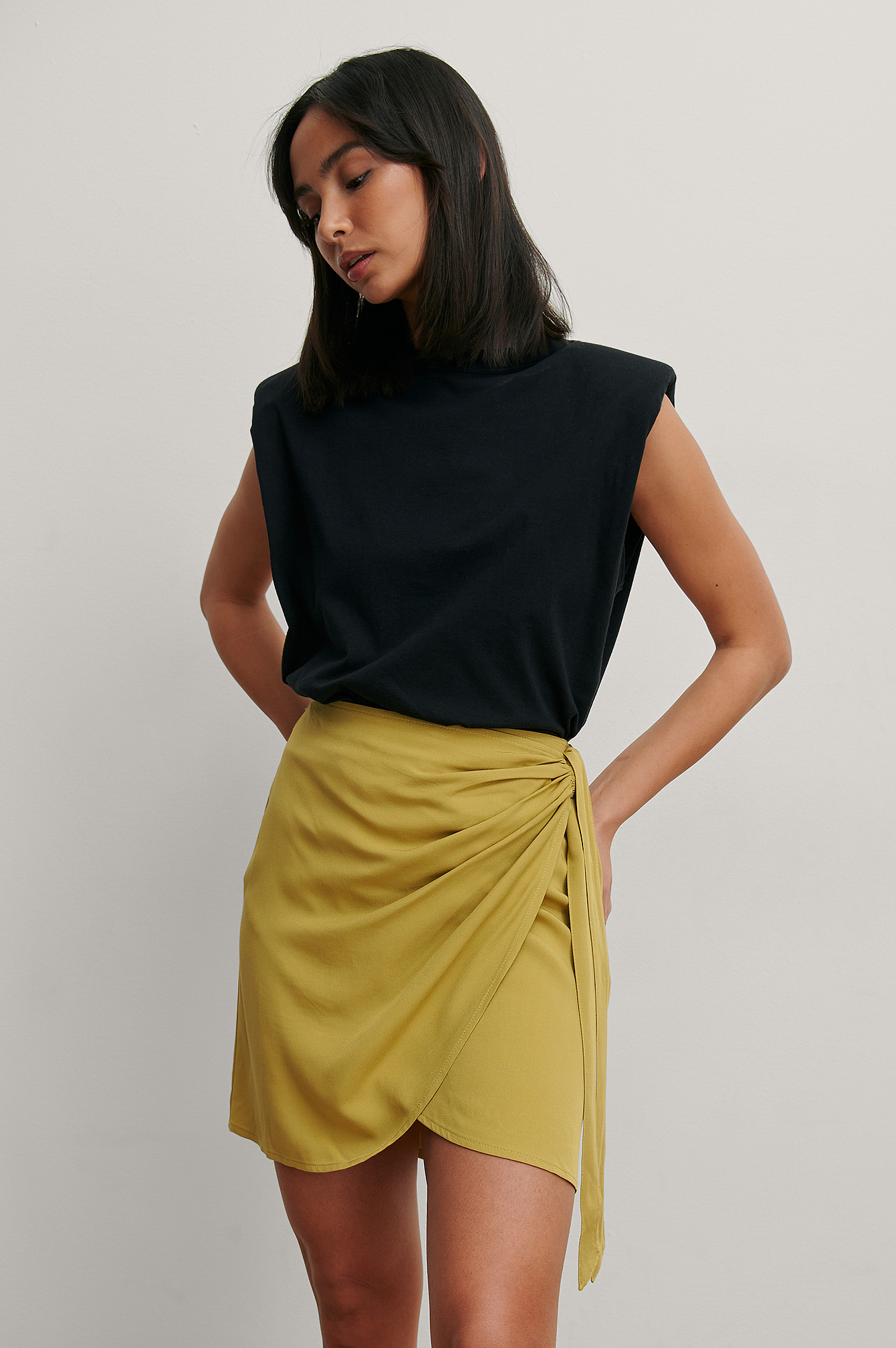 Olive Green Overlap Side Knot Mini Skirt
