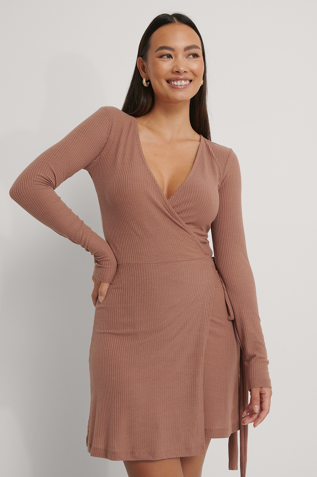 Dusty Dark Pink Overlap Tie Short Dress