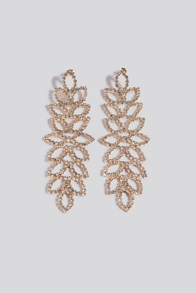 Oversize Blossom Look Rhinestone Earrings Gold