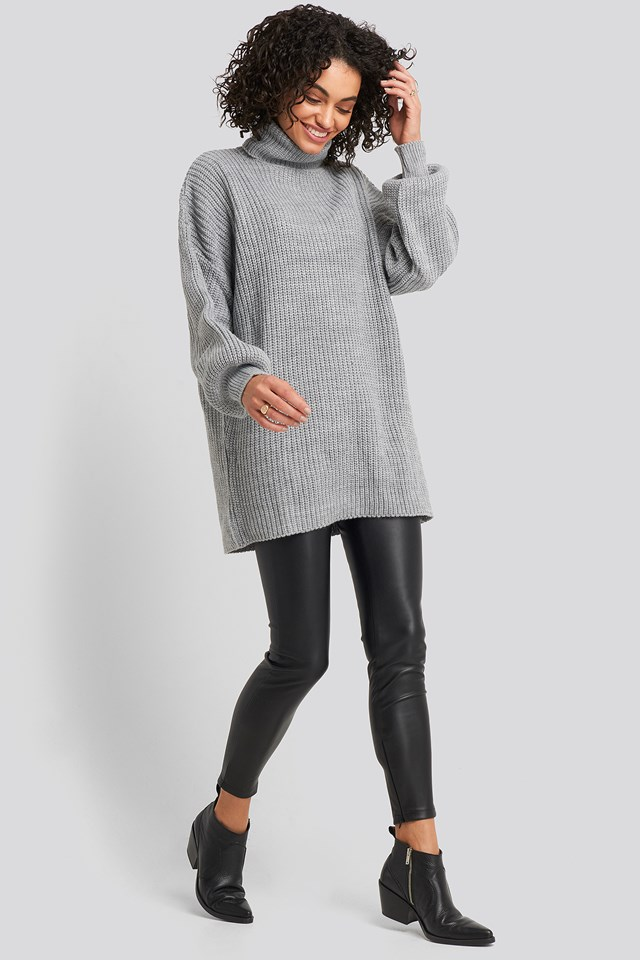 Oversized High Neck Long Knitted sweater Grey