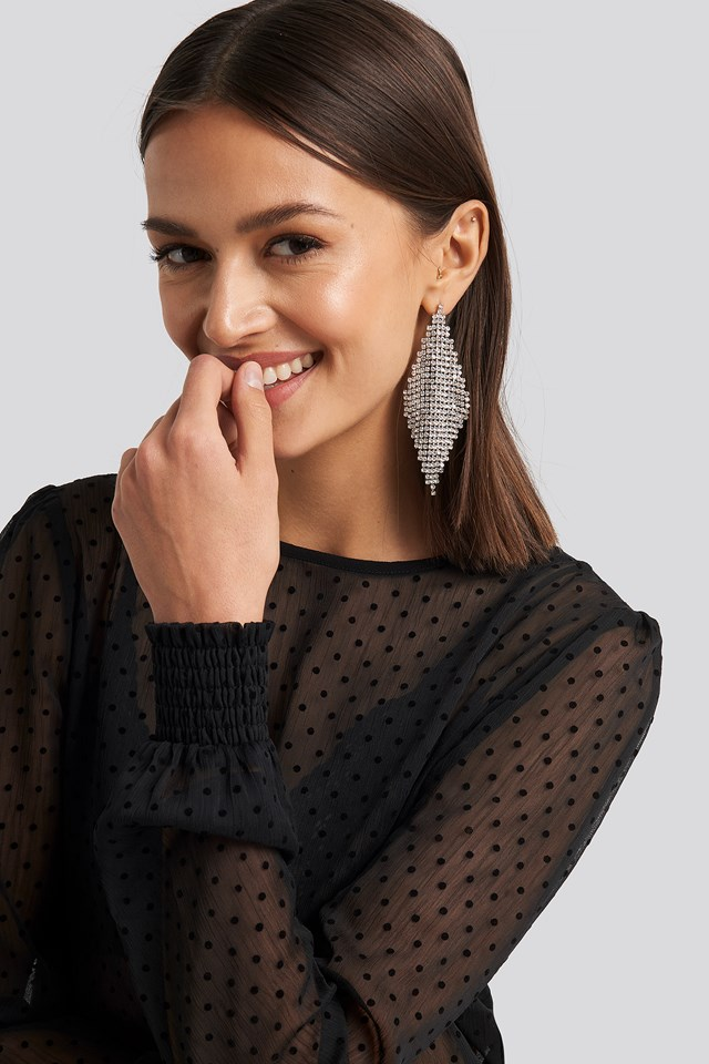 Oversize Rhinestone Rhombus Earrings NA-KD Accessories