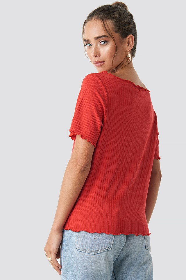 Oversized Babylock Ribbed Tee Red