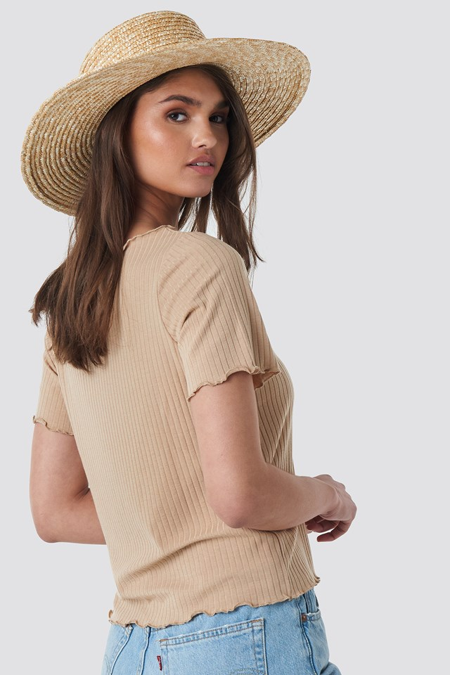 Oversized Babylock Ribbed Tee Light Beige