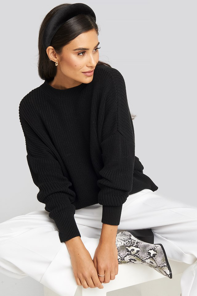 Oversized Balloon Sleeve Sweater Deep Black