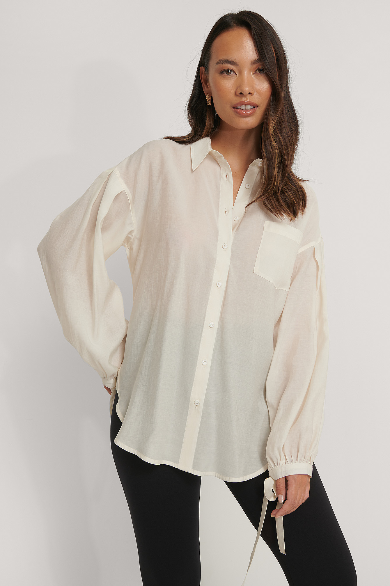 White Oversized Balloon Sleeve Shirt