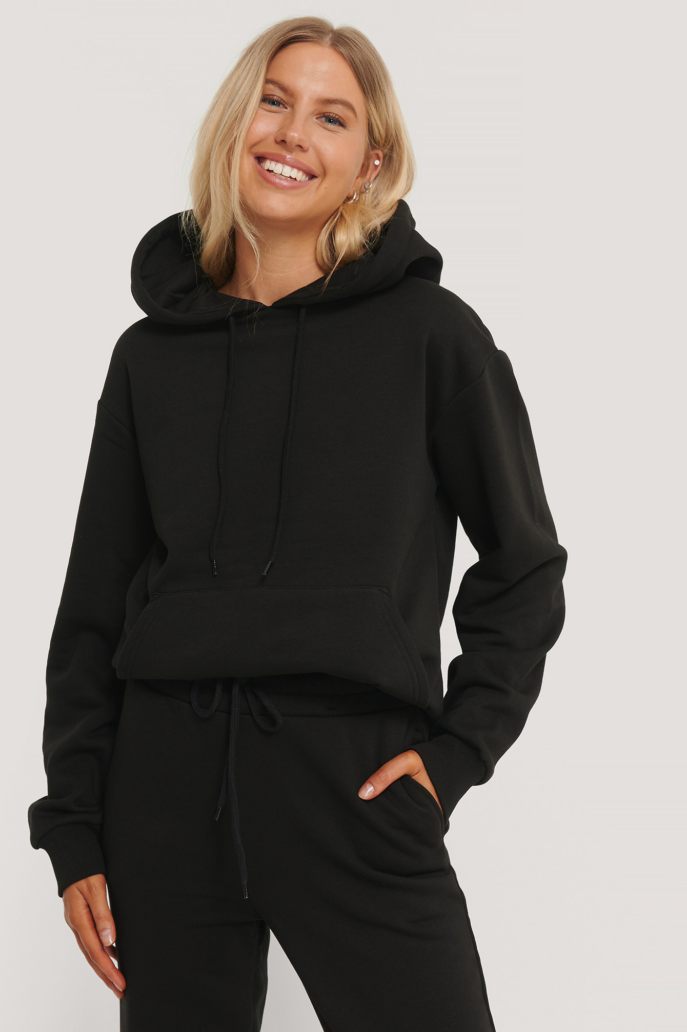 Black Organic Oversized Brushed Hoodie