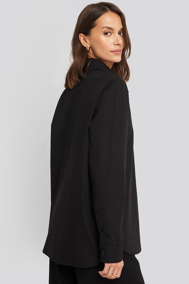 Oversized Concealed Button Shirt Black