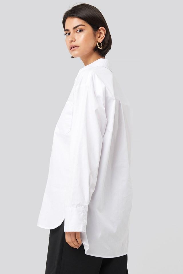 Oversized Cotton Pocket Shirt White