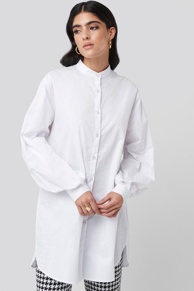 Oversized Cotton Shirt Dress White