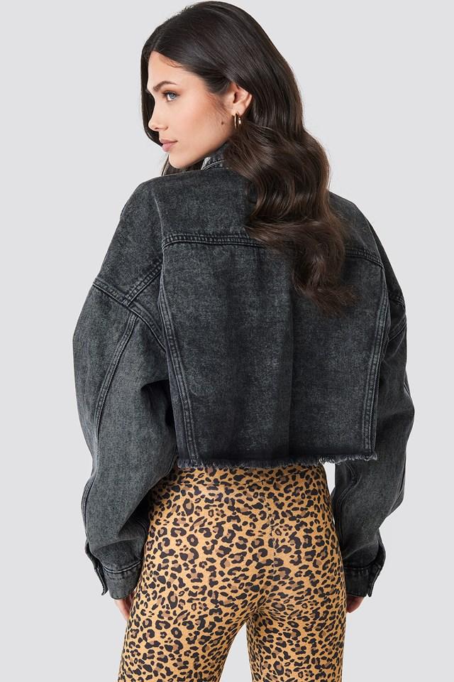 Oversized Cropped Raw Hem Denim Jacket Black