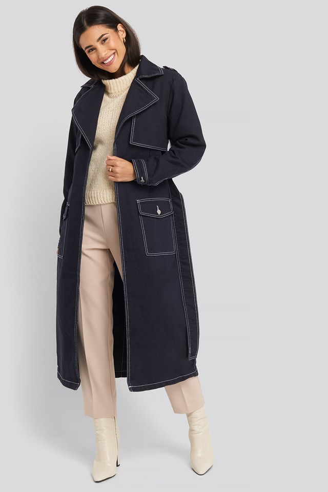 Oversized Denim Coat Dark Blue
