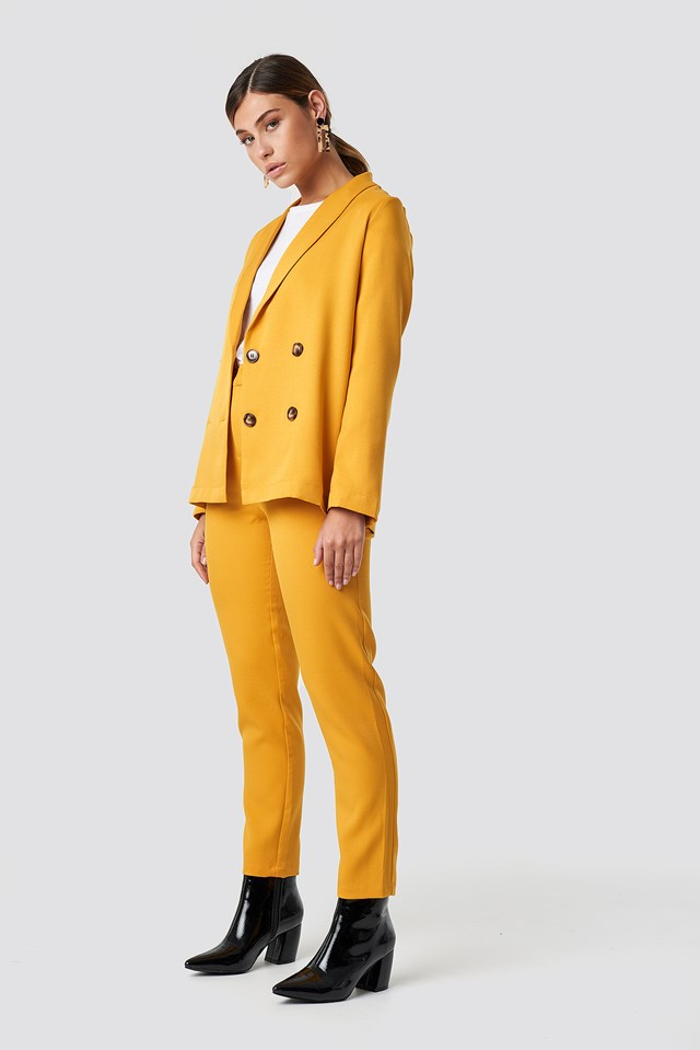 Oversized Double Breasted Blazer Mustard Yellow