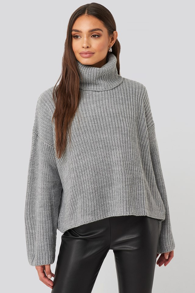 Oversized High Neck Knitted Sweater Grey