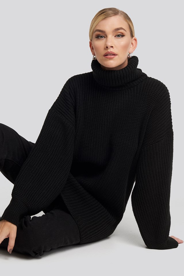 Oversized High Neck Long Knitted sweater Black