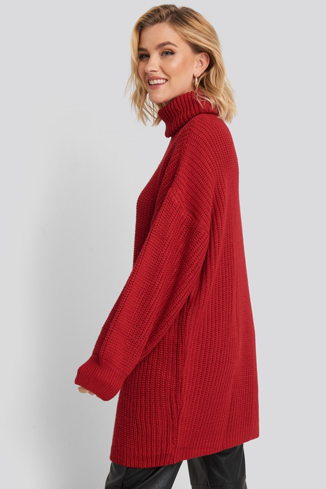 Oversized High Neck Long Knitted sweater Red