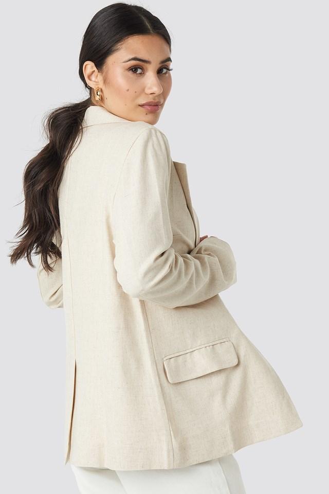 Oversized Linen Look Blazer Beige