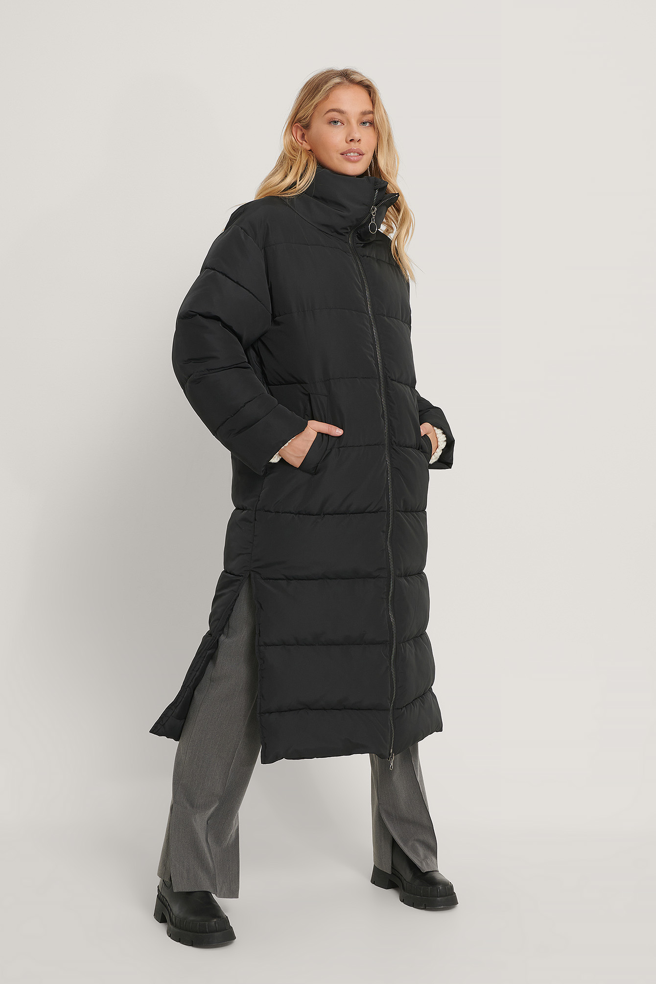 Black Oversized Long Puffer Jacket